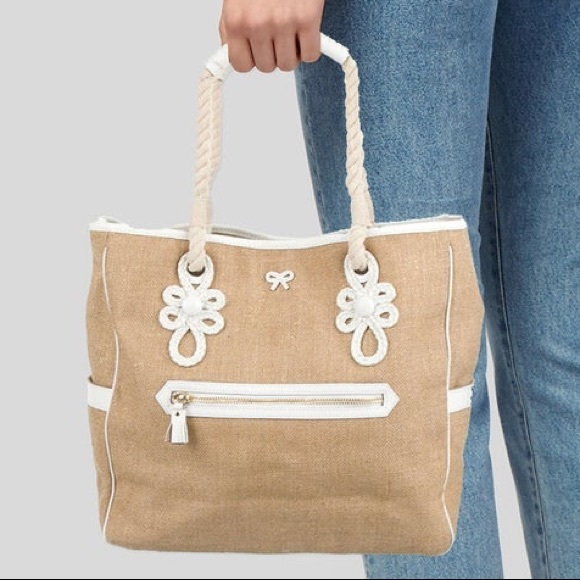 Anya Hindmarch Leather Trim Canvas Tote